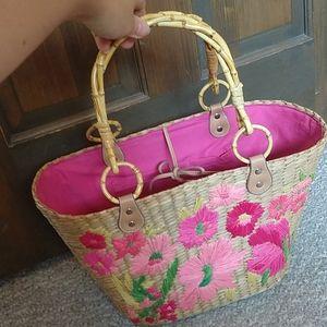 NWOT Pink Floral Wicker Basket Tote